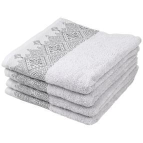 Handtuch mit bestickter Borde, grau, 4er-Set