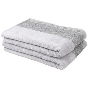 Duschtuch mit bestickter Borde, grau, 2er-Set