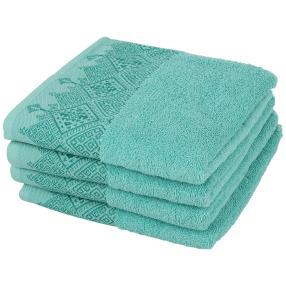 Handtuch mit bestickter Borde, türkis, 4er-Set