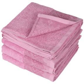 Handtuch mit bestickter Borde, altrosé, 4er-Set