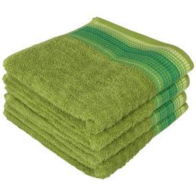 Handtuch mit bestickter Bordüre, grün, 4er Set