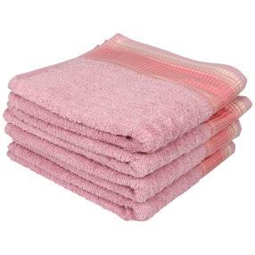 Handtuch mit bestickter Bordüre, rosé, 4er Set