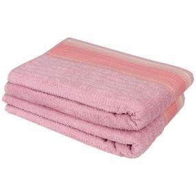 Duschtuch mit bestickter Bordüre, rosé, 2er Set