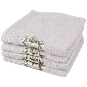 Handtuch mit Digitaldruck-Motiv, grau, 4er Set