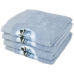 Handtuch mit Digitaldruck-Motiv, blau, 4er-Set