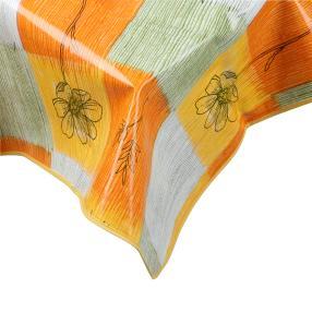 Wachstuchtischdecke, floral kariert, 130 x 160 cm