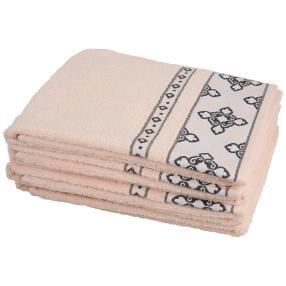 Handtuch mit Bordüre, rosé, 50 x 100 cm, 4er-Set