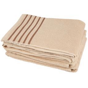 Handtuch beige mit Streifen, 50 x 100 cm, 4er-Set