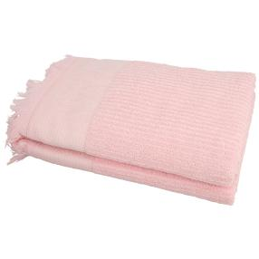 Duschtuch mit Fransen, rosé, 70 x 140 cm, 2er-Set