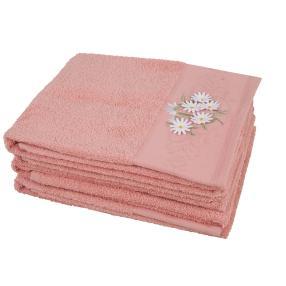 Handtuch mit 3D-Blumen, rosa, 50 x 100 cm, 4er-Set