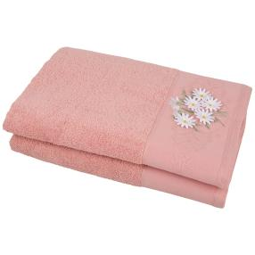 Duschtuch mit 3D-Blumen rosa, 70 x 140 cm, 2er Set