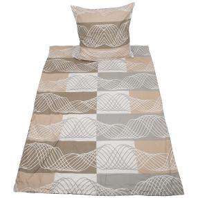 Biber Bettwäsche beige-grau mit Streifen, 2-teilig