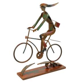 GILDE Metallskulptur, Cycling Girl, 45 cm