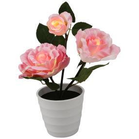 LED-Rose im Topf, rosé, 11 x 30 cm