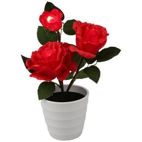 LED-Rose im Topf, rot, 11 x 18 x 30 cm