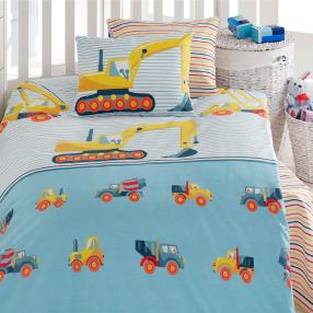 Kinder-Bettwäsche, Baufahrzeuge, blau, 2-teilig