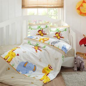 Kinder-Bettwäsche, Tiere, beige, 2-teilig