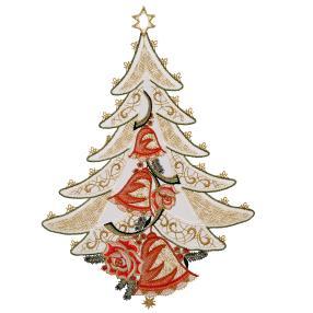 Fensterbild Plauener Spitze, Weihnachtsbaum