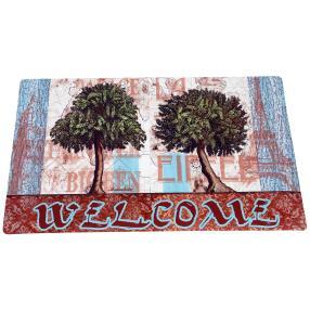 Fußmatte Bäume, türkis-braun, 74 x 44 cm