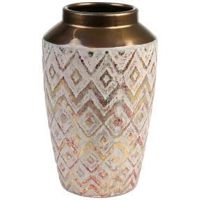 GILDE Keramik Vase Caserta, rot-gold, 27 x 16 cm