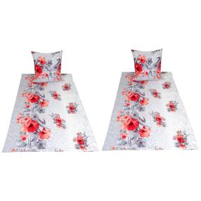 AllSeasons Bettwäsche, grau-rote Blumen, 4-teilig