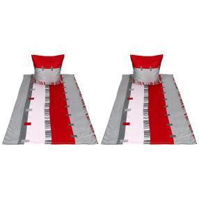 AllSeasons Bettwäsche, grau-rot Streifen, 4-teilig