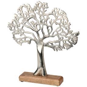 Metallbaum auf Holzsockel, silber-braun, 33 cm
