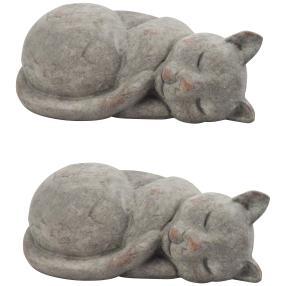 Dekokatze grau aus Steingut, 28 cm, 2er-Set
