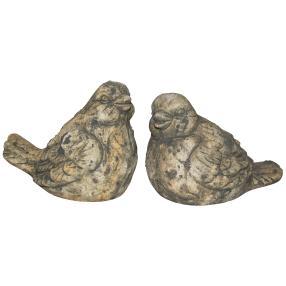 Dekovögel grau aus Keramik, 16 cm, 2er-Set