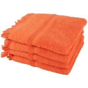 Handtuch orange mit Fransen, 50 x 100 cm, 4er-Set
