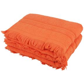 Duschtuch orange mit Fransen, 70 x 140 cm, 2er-Set
