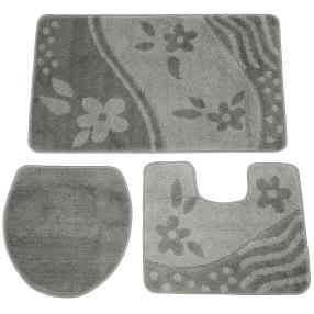 Badteppich grau, Blumen und Wellen Muster, 3er-Set