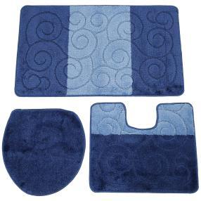 Badteppich dunkelblau, Verzierungen, 3er-Set