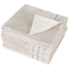 Luxus Handtuch, Glitzersteinchen, taupe, 4er-Set