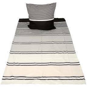 AllSeasons Bettwäsche, grau-weiß Streifen 2-teilig