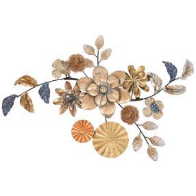 Wanddeko Blumen, Metall, 6,8x83x52 cm