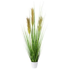 Grasbusch im weißen Topf, 80 cm