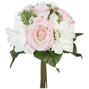 Rosen-Hortensien-Bouquet weiß/rosa, 31 cm