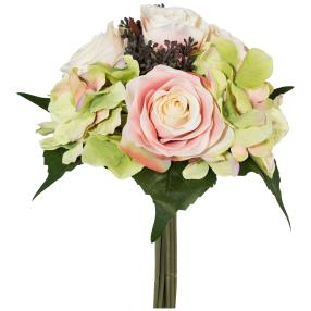 Rosen-Hortensien-Bouquet beige, 31 cm