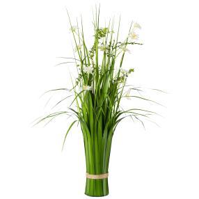 Grasbusch mit Blüten, weiß, 67 cm