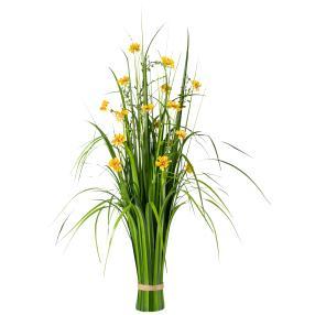 Grasbusch mit Blüten, gelb, 86 cm