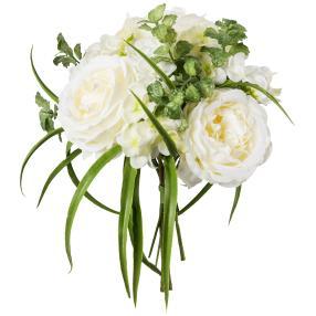 Mixstrauß Rosen/Hortensie, weiß, 20 cm