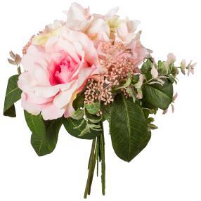 Rosen-Hortensie-Bouquet weiß/rosa, 26 cm