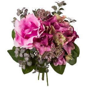 Rosen-Hortensie-Bouquet rosa/lila, 26 cm