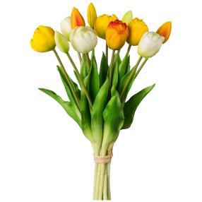 Tulpenstrauß gelb/weiß, 12er Bund, 39 cm
