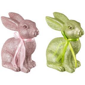 Dekohase Janosch, grün-rosé, 20 cm, 2er-Set