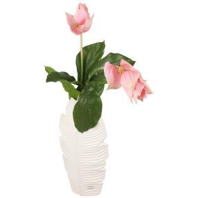 Blumenarrangement, Porzellanvase mit Dekoblumen