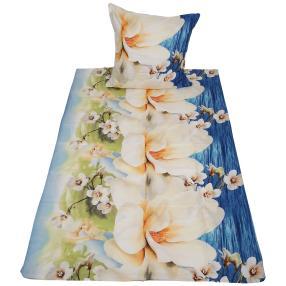 AllSeasons Bettwäsche, beige Blumen, 2-teilig