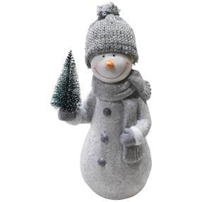 Schneemann mit Strickmütze aus Keramik, 28,5 cm