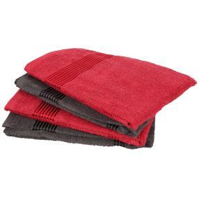 GÖZZE Handtuch, rot-grau, 50 x 100 cm, 4er Set
